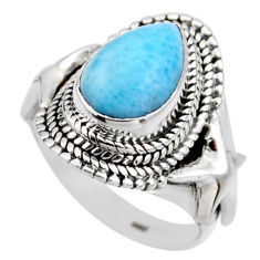 4.71cts natural blue larimar 925 silver solitaire ring jewelry size 7 r53562