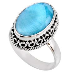 6.84cts natural blue larimar 925 silver solitaire ring jewelry size 7 r53761