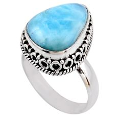 7.66cts natural blue larimar 925 silver solitaire ring jewelry size 7 r53762