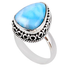 7.40cts natural blue larimar 925 silver solitaire ring jewelry size 7 r53765
