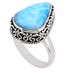 7.84cts natural blue larimar 925 silver solitaire ring jewelry size 7 r53766