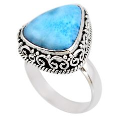 10.02cts natural blue larimar 925 silver solitaire ring jewelry size 7 r53773