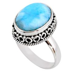 7.12cts natural blue larimar 925 silver solitaire ring jewelry size 7 r53776