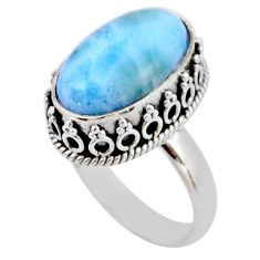 7.35cts natural blue larimar 925 silver solitaire ring jewelry size 7 r53780