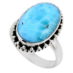 7.50cts natural blue larimar 925 silver solitaire ring jewelry size 7 r53801