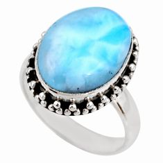 9.54cts natural blue larimar 925 silver solitaire ring jewelry size 7 r53813