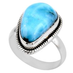 7.89cts natural blue larimar 925 silver solitaire ring jewelry size 7 r53823