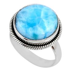 11.51cts natural blue larimar 925 silver solitaire ring jewelry size 7 r53828