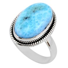 7.30cts natural blue larimar 925 silver solitaire ring jewelry size 7 r53832