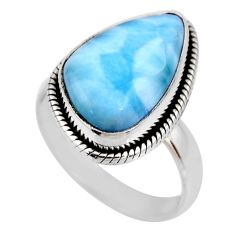 7.36cts natural blue larimar 925 silver solitaire ring jewelry size 7 r53836