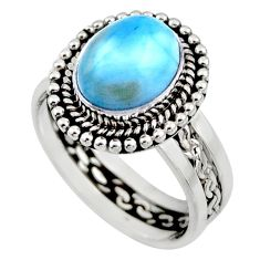 4.65cts natural blue larimar 925 silver solitaire ring jewelry size 7 r54281