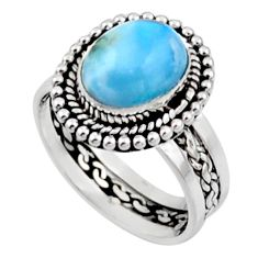 4.22cts natural blue larimar 925 silver solitaire ring jewelry size 7 r54303