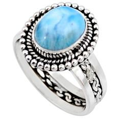 4.35cts natural blue larimar 925 silver solitaire ring jewelry size 7 r54305