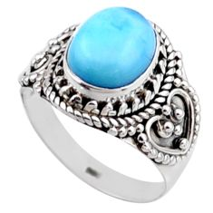 4.25cts natural blue larimar 925 silver solitaire ring jewelry size 7 r54383