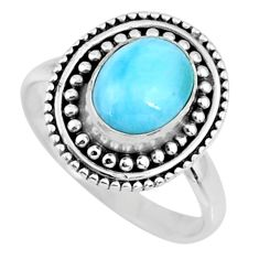 3.10cts natural blue larimar 925 silver solitaire ring jewelry size 7 r57474