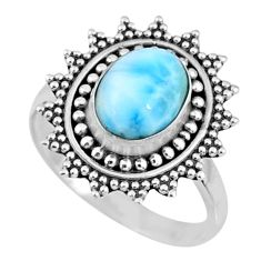 3.45cts natural blue larimar 925 silver solitaire ring jewelry size 7 r57477