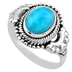 3.26cts natural blue larimar 925 silver solitaire ring jewelry size 7 r64965