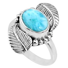 4.02cts natural blue larimar 925 silver solitaire ring jewelry size 7 r67310
