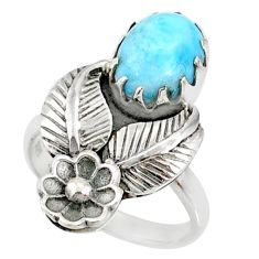 4.21cts natural blue larimar 925 silver solitaire ring jewelry size 7 r67489