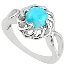 2.39cts natural blue larimar 925 silver solitaire ring jewelry size 7 r68683