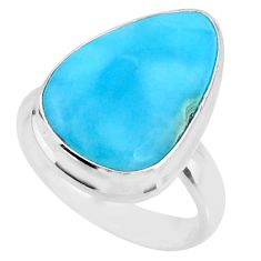 12.34cts natural blue larimar 925 silver solitaire ring jewelry size 7 r72613
