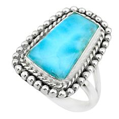 10.53cts natural blue larimar 925 silver solitaire ring jewelry size 7 r72637