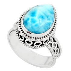 6.20cts natural blue larimar 925 silver solitaire ring jewelry size 7 r83773