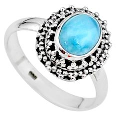 2.09cts natural blue larimar 925 silver solitaire handmade ring size 7 t15903