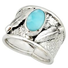 3.23cts natural blue larimar 925 silver solitaire ring jewelry size 8 r22390