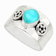 2.35cts natural blue larimar 925 silver solitaire ring jewelry size 8 r34626