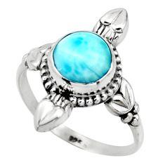 2.96cts natural blue larimar 925 silver solitaire ring jewelry size 8 r41422