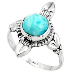2.78cts natural blue larimar 925 silver solitaire ring jewelry size 8 r41423