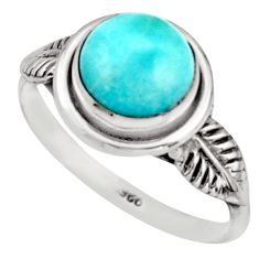 3.06cts natural blue larimar 925 silver solitaire ring jewelry size 8 r41503