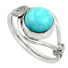 3.27cts natural blue larimar 925 silver solitaire ring jewelry size 8 r41522