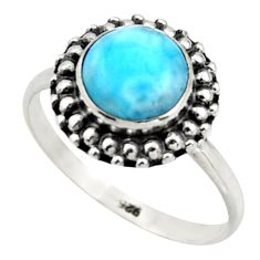 2.92cts natural blue larimar 925 silver solitaire ring jewelry size 8 r41563