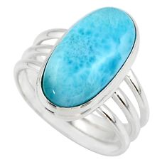 8.14cts natural blue larimar 925 silver solitaire ring jewelry size 8 r48092