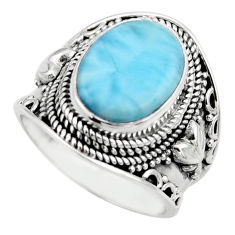 6.33cts natural blue larimar 925 silver solitaire ring jewelry size 8 r52181
