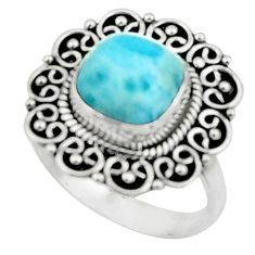 4.74cts natural blue larimar 925 silver solitaire ring jewelry size 8 r52423