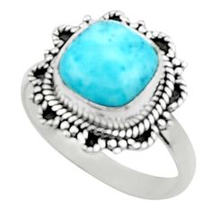 4.84cts natural blue larimar 925 silver solitaire ring jewelry size 8 r52427