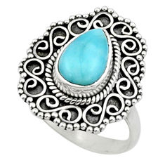 2.23cts natural blue larimar 925 silver solitaire ring jewelry size 8 r52435