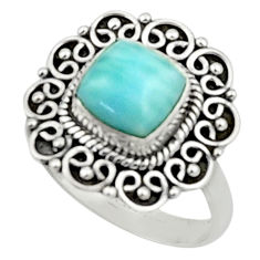 2.54cts natural blue larimar 925 silver solitaire ring jewelry size 8 r52436