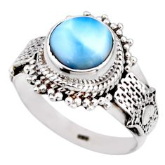 3.41cts natural blue larimar 925 silver solitaire ring jewelry size 8 r53542