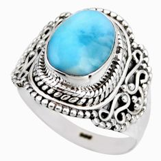 5.13cts natural blue larimar 925 silver solitaire ring jewelry size 8 r53545