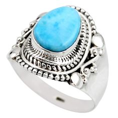 4.46cts natural blue larimar 925 silver solitaire ring jewelry size 8 r53548