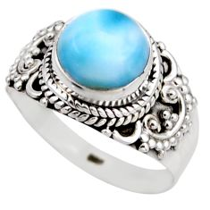 4.68cts natural blue larimar 925 silver solitaire ring jewelry size 8 r53552