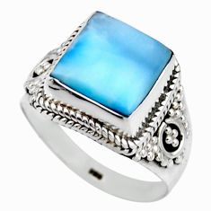 5.38cts natural blue larimar 925 silver solitaire ring jewelry size 8 r53554