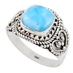 5.36cts natural blue larimar 925 silver solitaire ring jewelry size 8 r53576