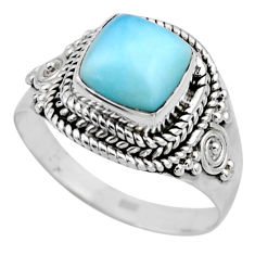 3.19cts natural blue larimar 925 silver solitaire ring jewelry size 8 r53582