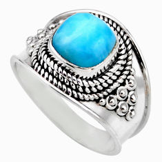 3.41cts natural blue larimar 925 silver solitaire ring jewelry size 8 r53642