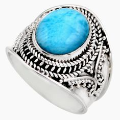 5.01cts natural blue larimar 925 silver solitaire ring jewelry size 8 r53643